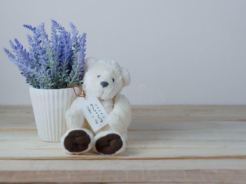 Potes púrpuras de la lavanda y osos de peluche lindos con las tarjetas de felicitación el día de madre fotos de archivo libres de regalías