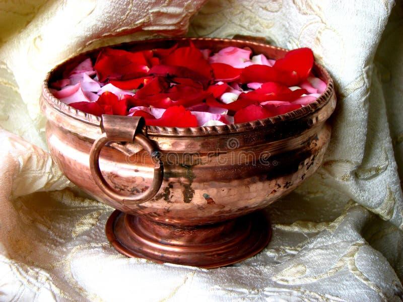 Potful of Petals. An antique copper pot full of petals stock image