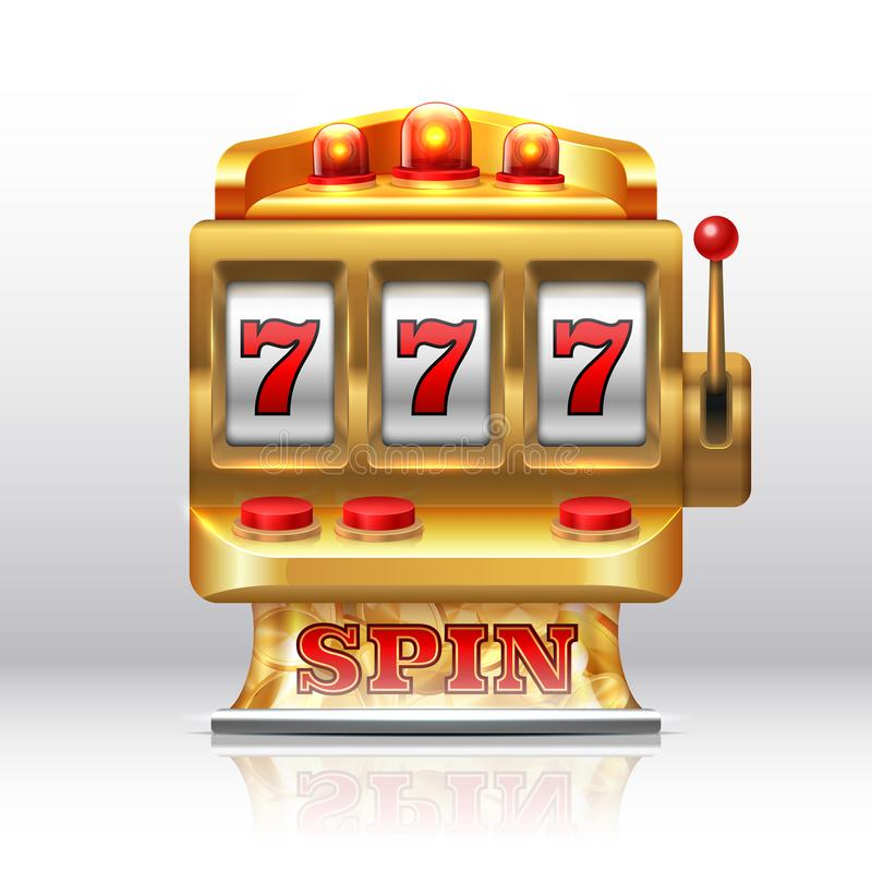 777 potgokautomaat Gouden casinorotatie, geïsoleerde het gokken prijsmachine Vector realistische spel spinnende groef royalty-vrije illustratie