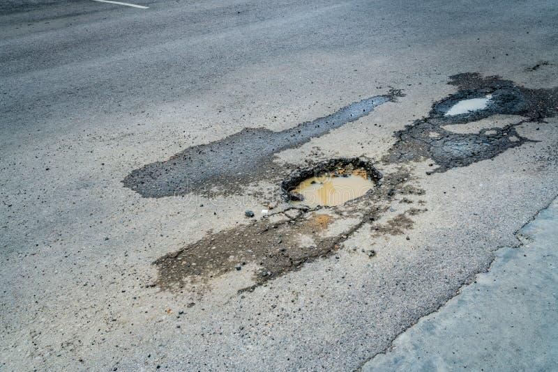 Pothole op de weg royalty-vrije stock afbeelding