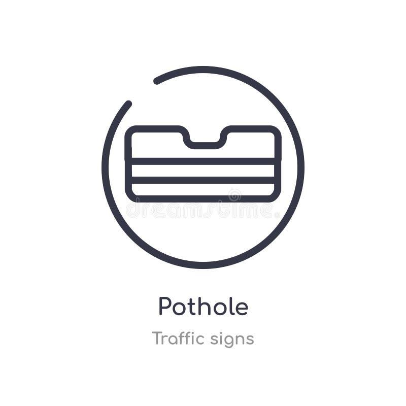 pothole overzichtspictogram ge?soleerde lijn vectorillustratie van verkeerstekeninzameling editable dun slagpothole pictogram op  royalty-vrije illustratie