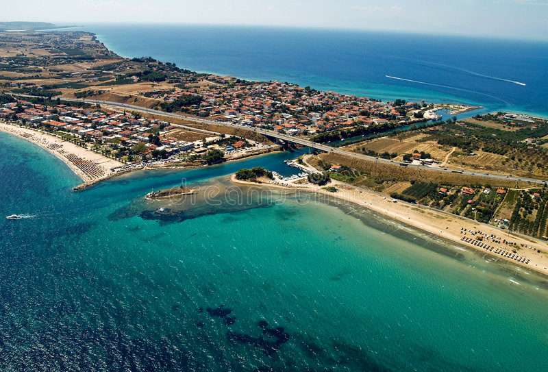 Potidea Sea Canal, Aerial View Royalty Free Stock Photography