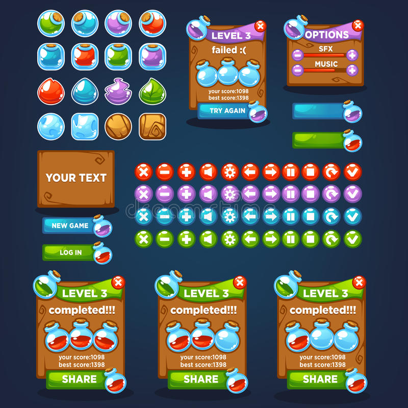 Potion maker, bubble shooter, match 3. Large vector cartoon collection, characters, elements, GUI, UI for your own mobile game vector illustration