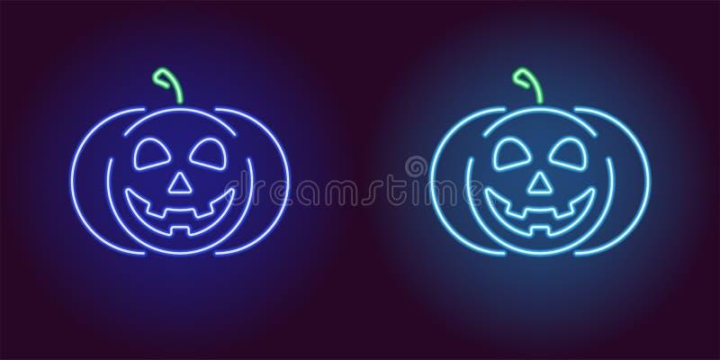 Potiron au néon aimable dans la couleur bleue et bleu-clair illustration libre de droits