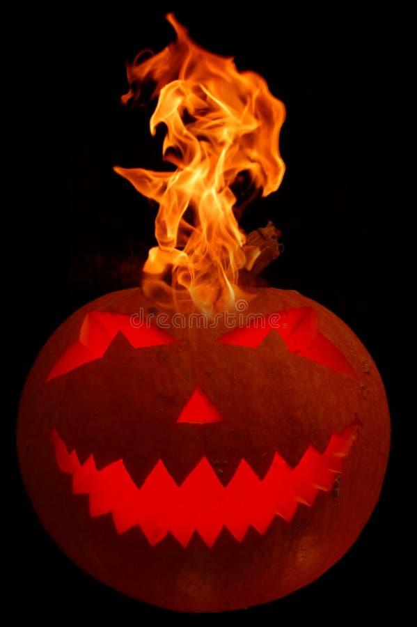 Potiron brûlant de veille de la toussaint image libre de droits