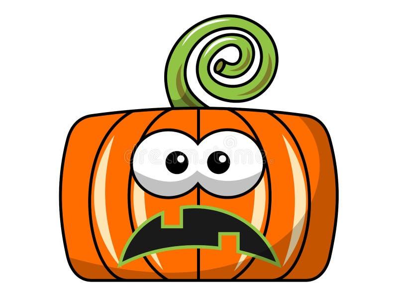 Potiron carré malheureux de Halloween d'isolement illustration de vecteur