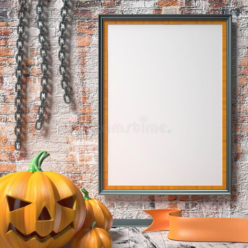 Potiron, chaînes et moquerie de lanterne de Jack O vers le haut d'affiche vide sur le blanc illustration libre de droits