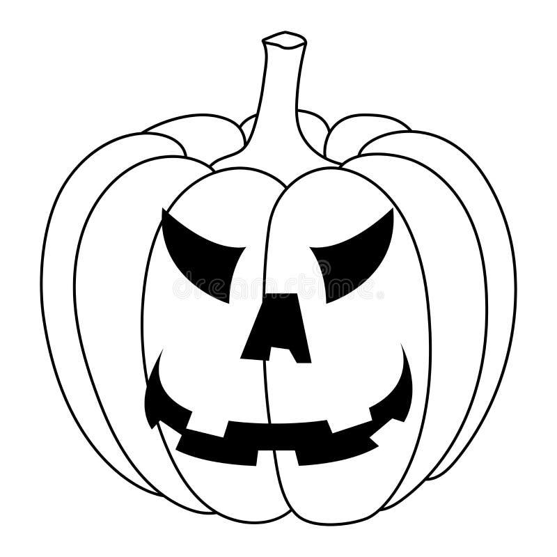 Potiron découpé de veille de la toussaint Visage fâché découpé Griffonnage noir et blanc illustration stock