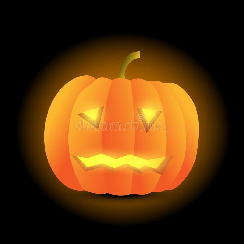 Potiron découpé effrayant de Halloween de vecteur réaliste sur le backgro noir illustration libre de droits