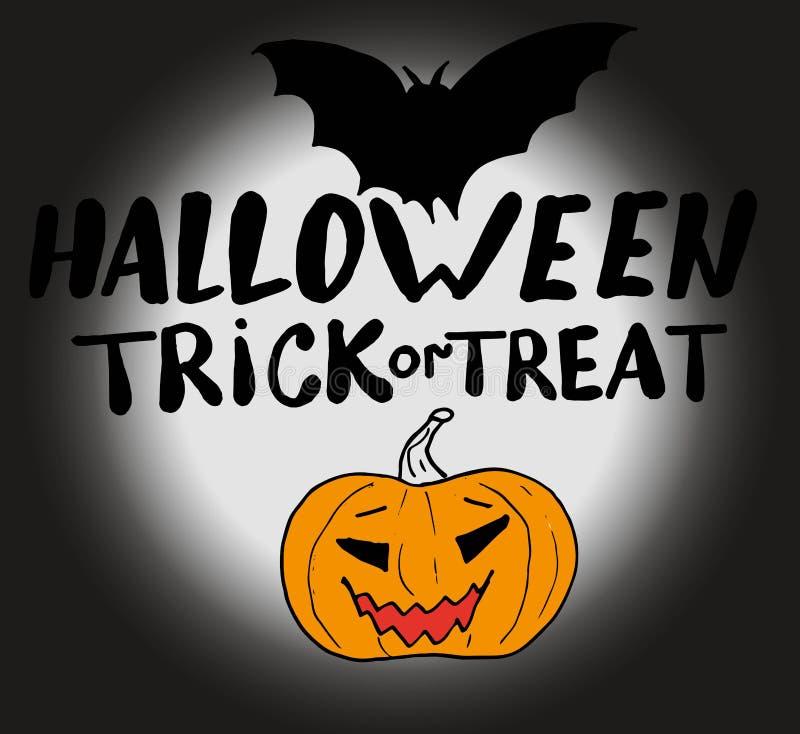 Potiron découpé sur un fond foncé de la lune et de la batte avec le des bonbons ou un sort de Halloween d'inscription Retrait de  illustration de vecteur