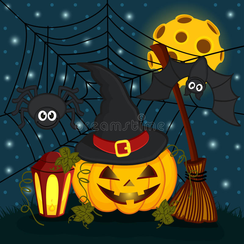 Potiron dans la nuit de Halloween de la veille illustration libre de droits
