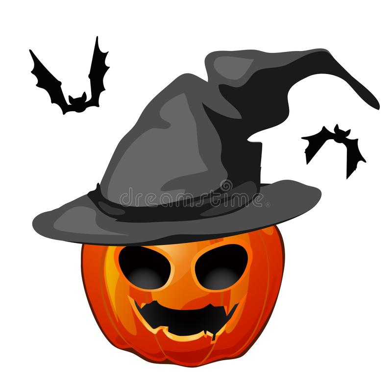 Potiron dans un chapeau et des battes de sorcière d'isolement sur le fond blanc Les attributs des vacances Halloween Vecteur illustration stock