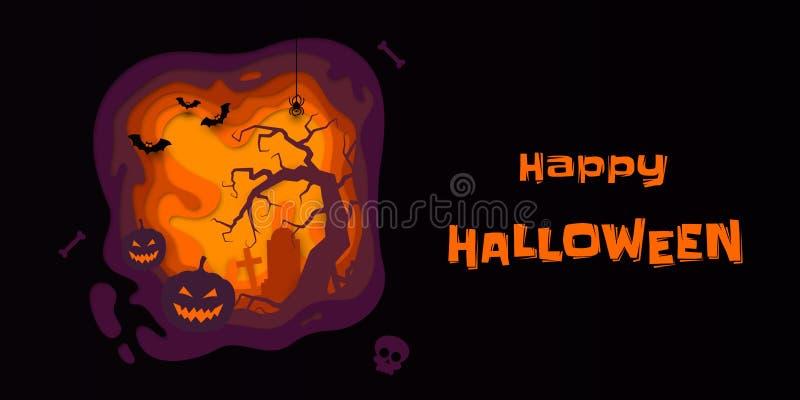 Potiron de bannière de vecteur de Halloween, cimetière de pleine lune et pierre tombale illustration libre de droits