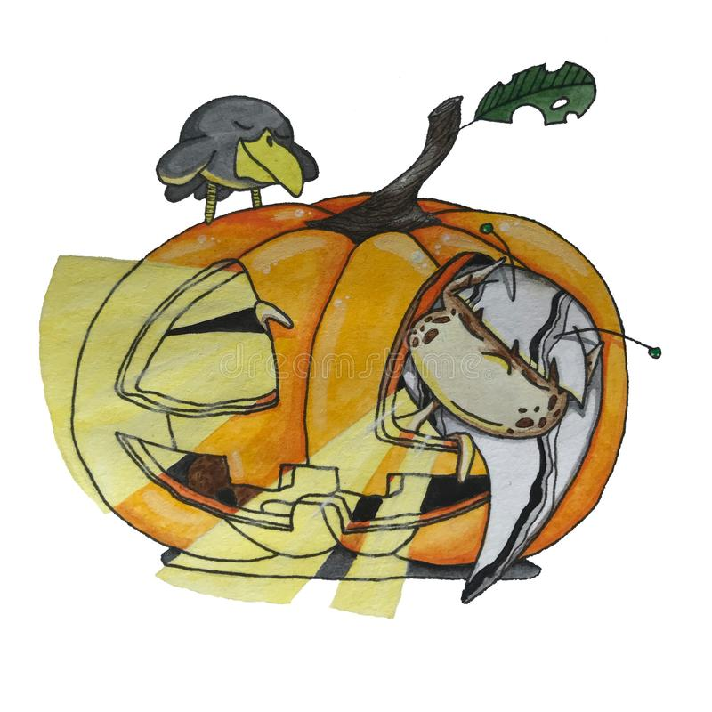 Potiron de Halloween avec l'elfe mignon images libres de droits
