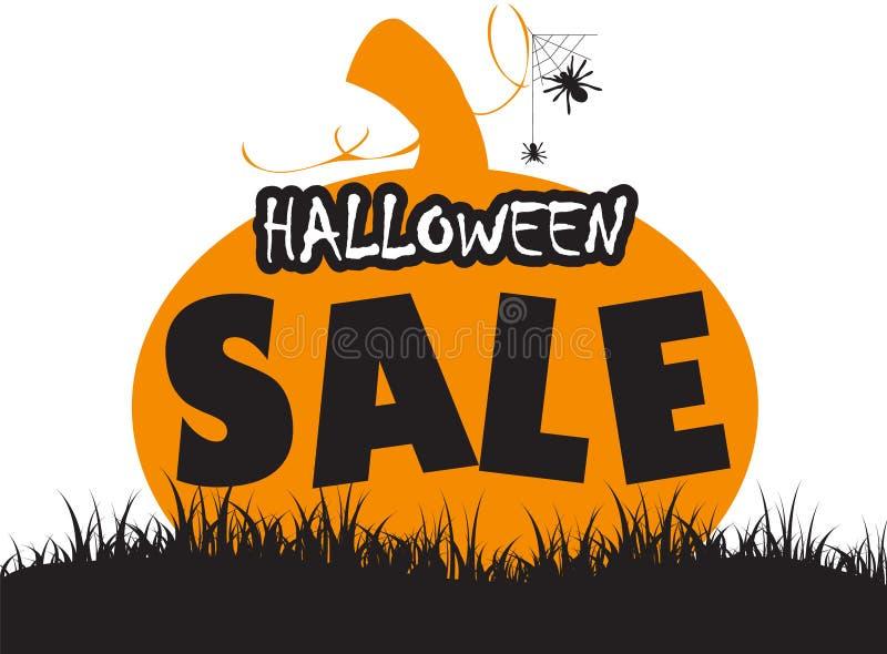 Potiron de Halloween avec la conception heureuse de vente illustration de vecteur