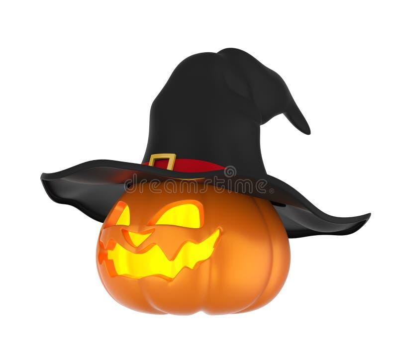 Potiron de Halloween avec le chapeau de sorcière d'isolement illustration de vecteur