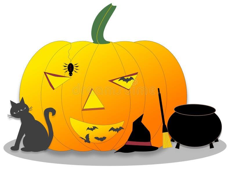 Potiron de Halloween avec le chat noir, les battes, l'araignée, le chaudron et le balai et le chapeau de sorcières illustration libre de droits