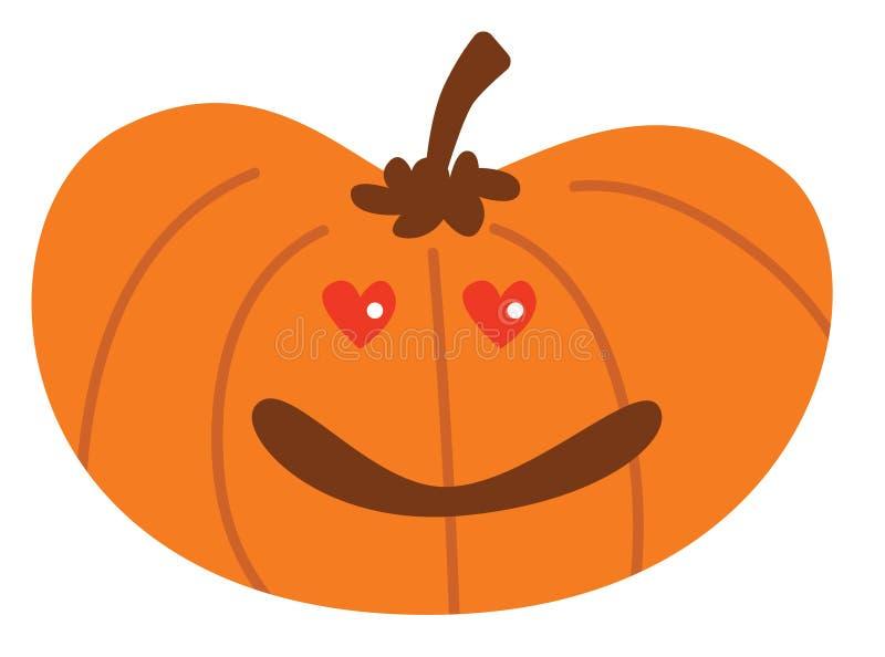 Potiron de Halloween de bande dessinée avec dans l'expression d'amour illustration de vecteur