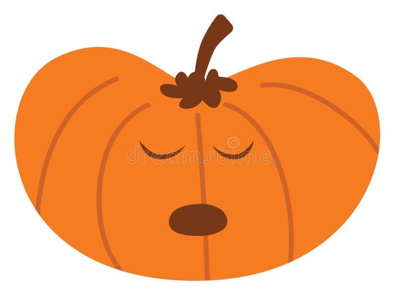 Potiron de Halloween de bande dessinée avec l'expression ennuyée illustration de vecteur