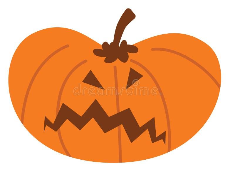 Potiron de Halloween de bande dessinée avec l'expression fâchée illustration de vecteur