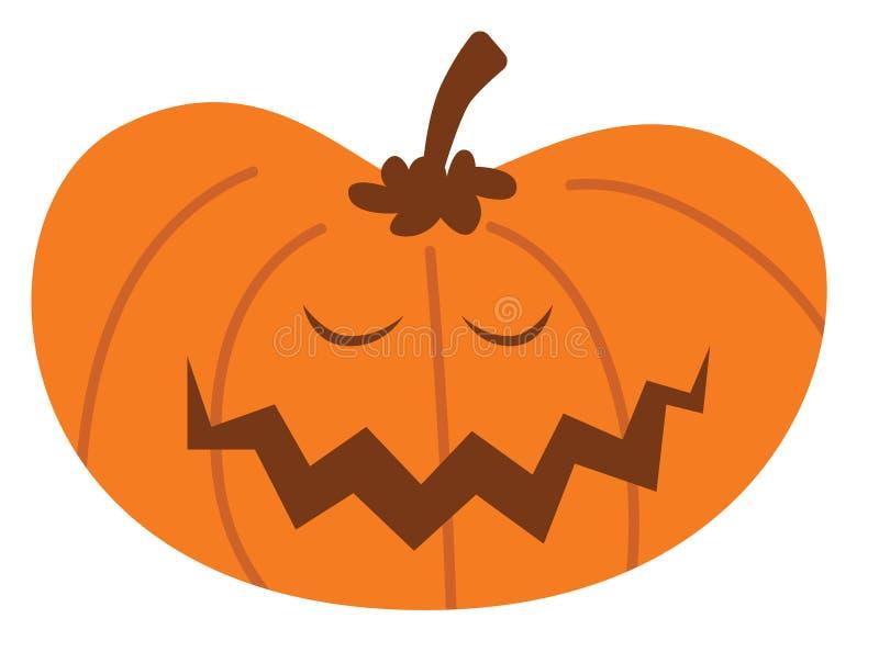 Potiron de Halloween de bande dessinée avec l'expression heureuse illustration de vecteur