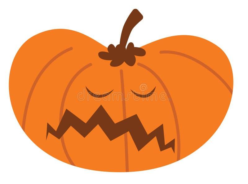 Potiron de Halloween de bande dessinée avec l'expression malheureuse illustration libre de droits