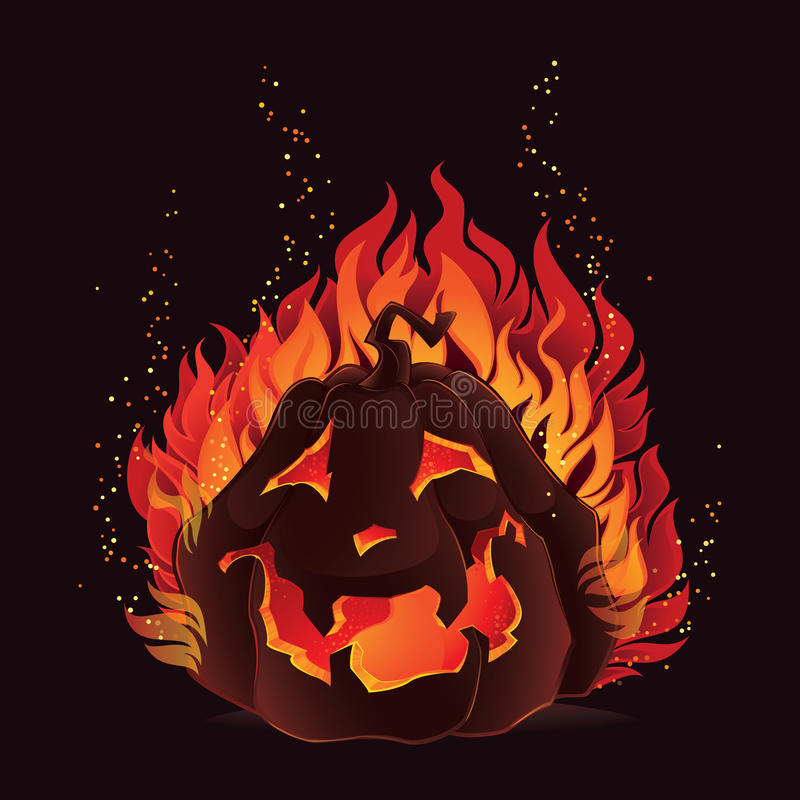 Potiron de Halloween en flammes illustration de vecteur
