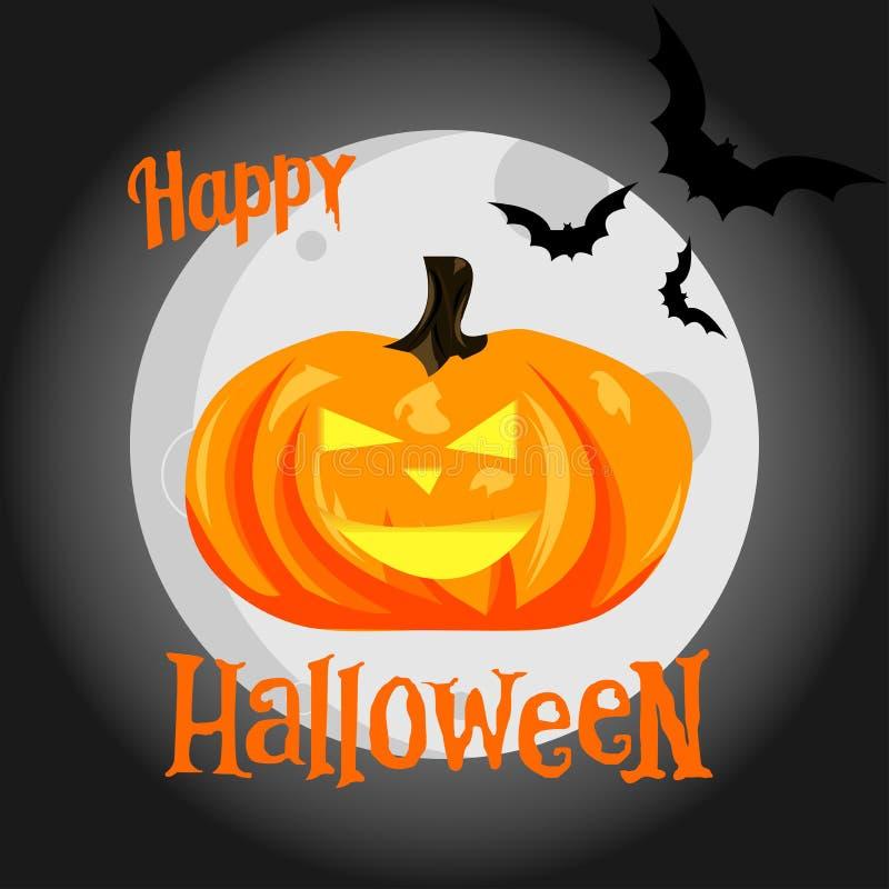 Potiron de Halloween sur le fond de lune, battes rampantes Illustra de vecteur illustration stock