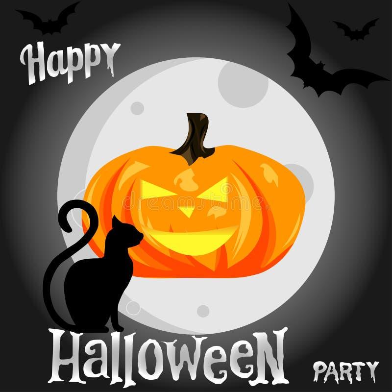 Potiron de Halloween sur le fond de lune, le chat rampant et les battes illustration libre de droits