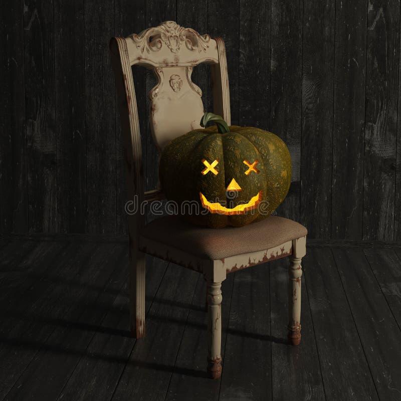 Potiron de Jack-O-lanterne de Halloween sur une chaise illustration de vecteur