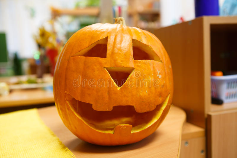 Potiron de sourire principal pour Halloween, la veille de tout le jour de saints photographie stock libre de droits