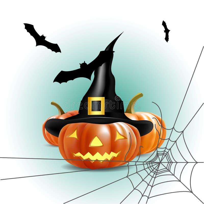 Potiron de Veille de la toussaint avec la toile de 'bat' et d'araignée illustration libre de droits