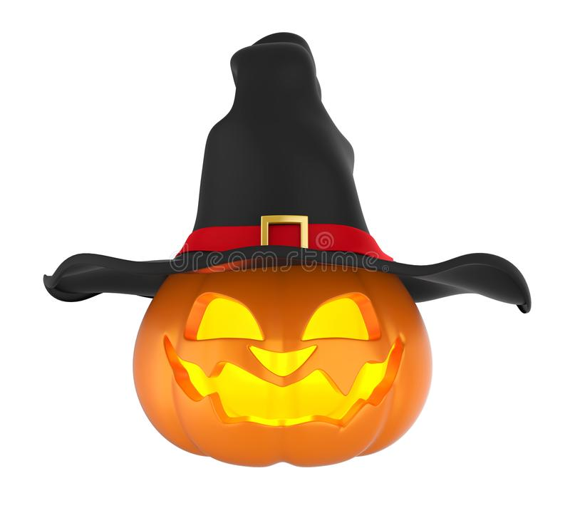 Potiron de Veille de la toussaint avec le chapeau de sorcière illustration libre de droits