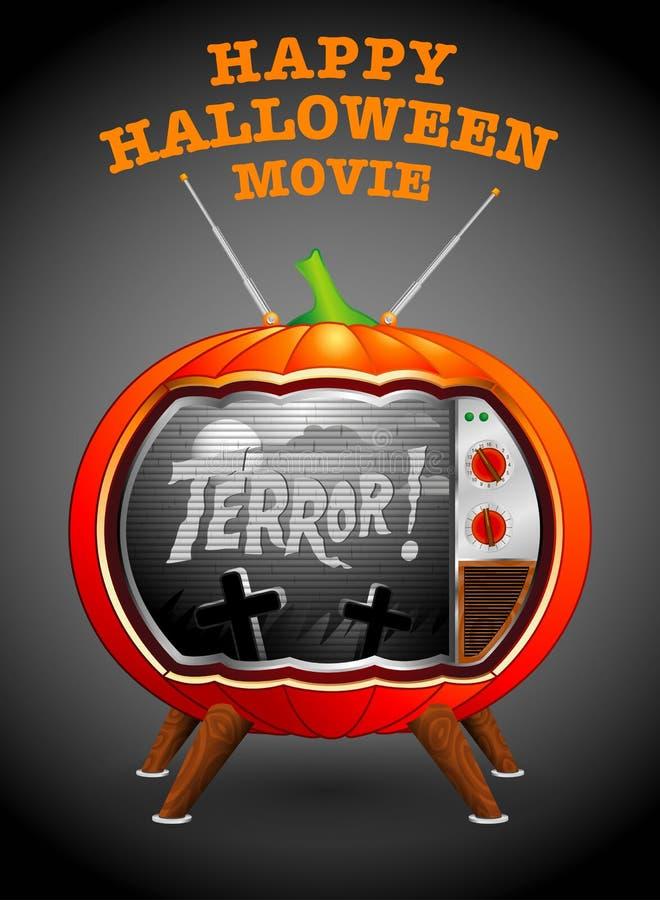 potiron en forme de TV projetant un vieux film d'horreur en noir et blanc illustration de vecteur