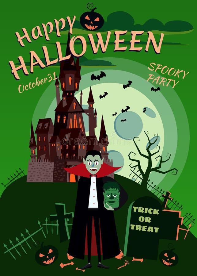 Potiron heureux de Halloween dans le cimetière, château noir abandonné, vampire avec les zombis principaux, nuit d'obscurité de p illustration stock