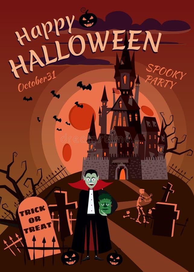 Potiron heureux de Halloween dans le cimetière, château noir abandonné, vampire avec les zombis principaux, nuit d'obscurité de p illustration de vecteur