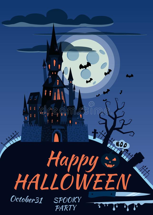 Potiron heureux de Halloween en cimetière, château noir abandonné, nuit foncée, croix et pierres tombales de pleine lune illustration de vecteur