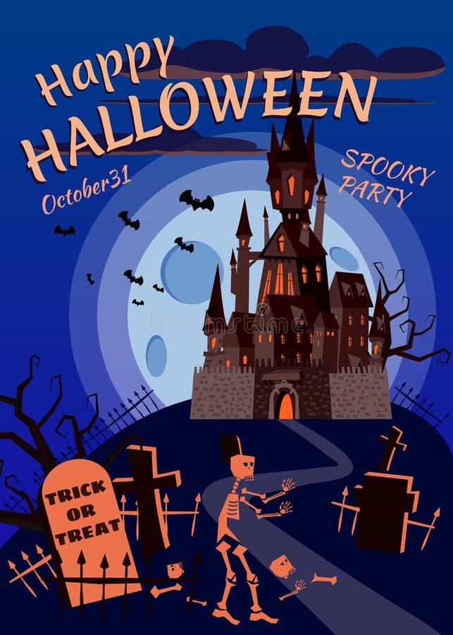 Potiron heureux de Halloween en cimetière, château noir abandonné, nuit foncée, croix et pierres tombales de pleine lune illustration libre de droits