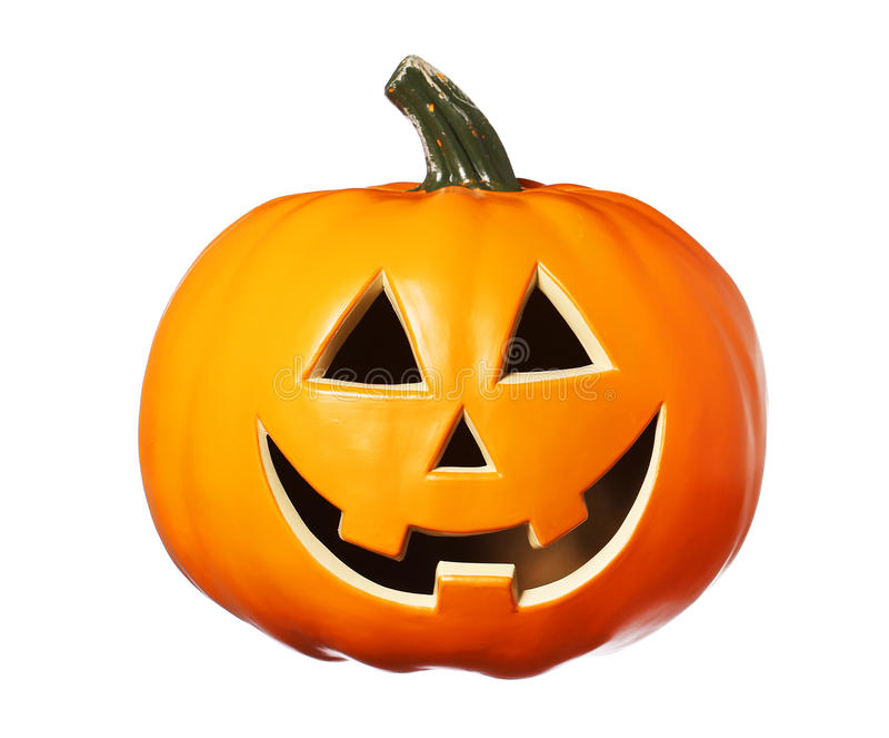 Potiron heureux de Halloween, lanterne de Jack O d'isolement sur le blanc image libre de droits