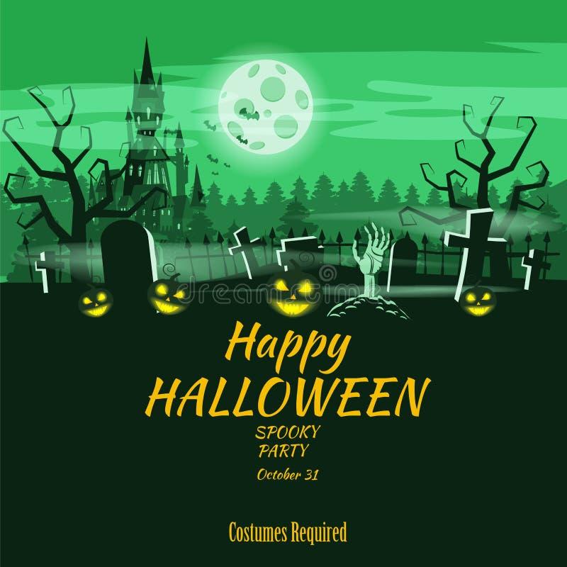 Potiron heureux de vacances de Halloween d'affiche, cimetière, château abandonné noir, attributs des vacances de tous les saints, illustration de vecteur