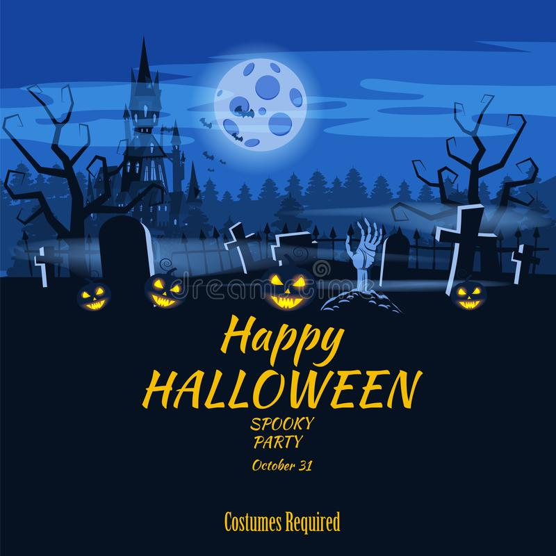 Potiron heureux de vacances de Halloween d'affiche, cimetière, château abandonné noir, attributs des vacances de tous les saints, illustration libre de droits