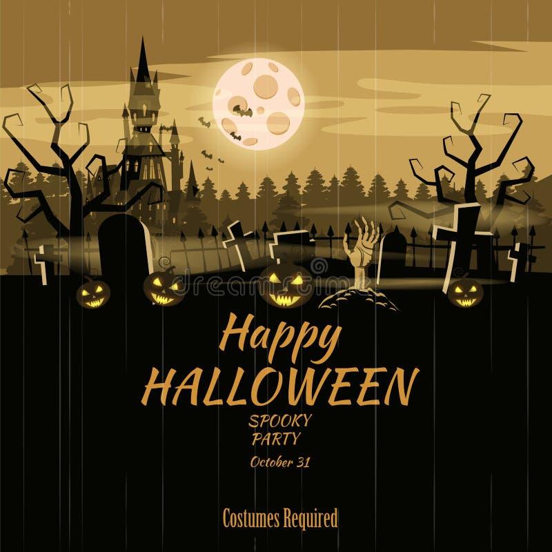 Potiron heureux de vacances de Halloween d'affiche, cimetière, château abandonné noir, attributs des vacances de tous les saints, illustration stock