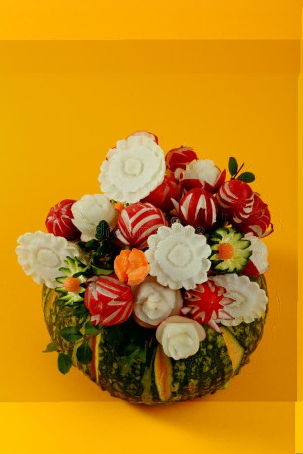 Potiron, légumes décoratifs, carottes, radis, photo libre de droits