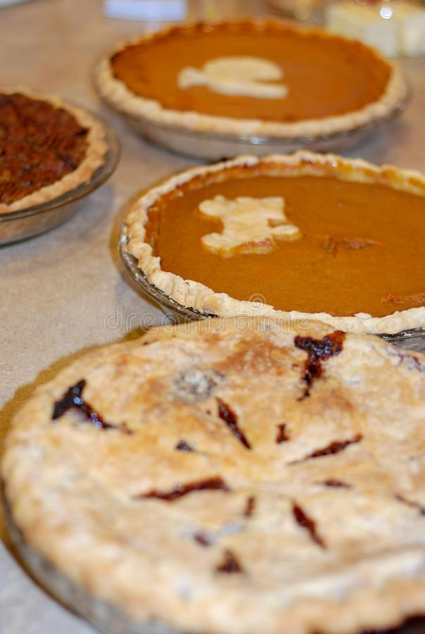 Potiron, noix de pécan, et tarte de baie au thanksgiving photo stock