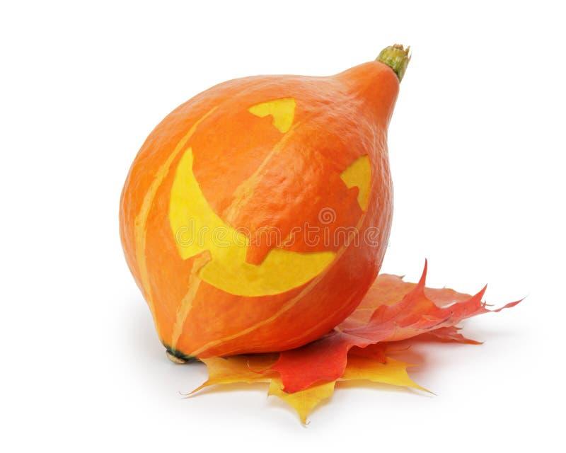Potiron rayé drôle de Halloween photo libre de droits