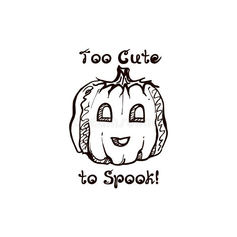 Potiron tiré par la main de Halloween avec l'expression manuscrite illustration stock