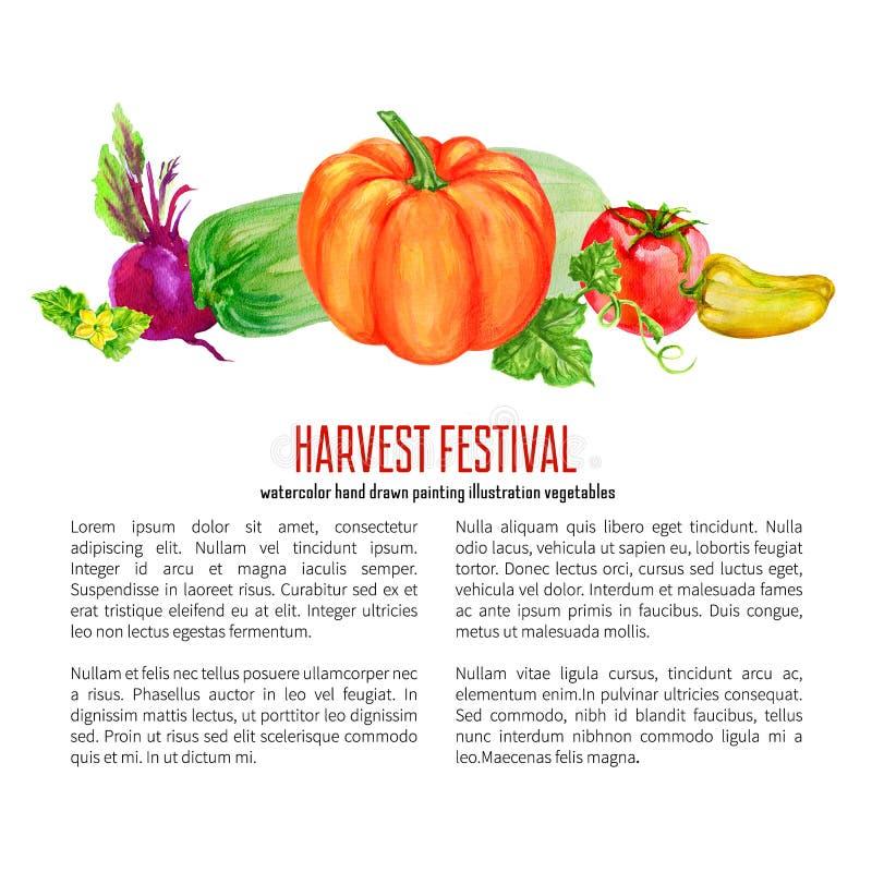 Potiron végétal d'aquarelle, tomate, poivre jaune, courgette, illustration tirée par la main de betteraves d'isolement sur le bla illustration de vecteur
