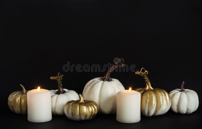 Potirons blancs et d'or et bougies brûlantes sur le fond noir Concept de Veille de la toussaint image libre de droits