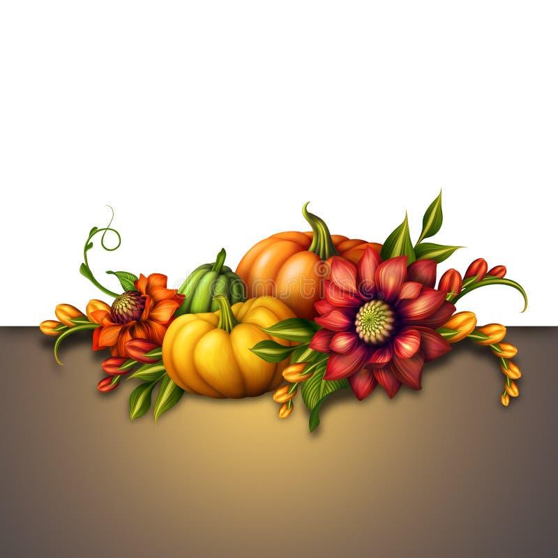 Potirons de chute avec les fleurs saisonnières, fond d'automne illustration de vecteur