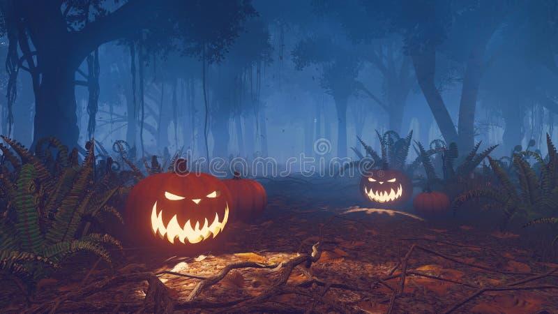 Potirons de Halloween dans une fin brumeuse de forêt  illustration libre de droits